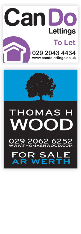 Can Do Lettings and Thomas H Wood Estate agent boards
