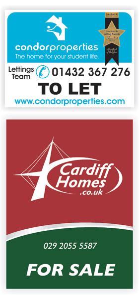 Condor Properties and Cardiff Homes Estate agent boards