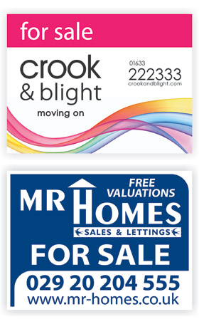 Crook and Blight and Mr Homes Estate agent boards