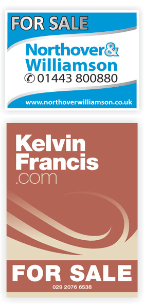 Northover and Williamson and Kelvin Francis Estate agent boards