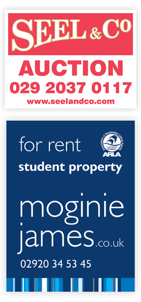 Seel and Co and Moginie James Estate agent boards