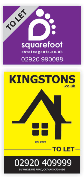 Squarefoot and Kingstons Estate agent boards